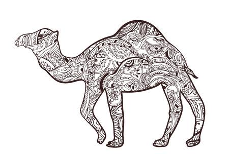 animales del desierto: Tarjeta de felicitación con el camello. Ornamemtal de animales hecho en vector. Tarjetas perfectas, o para cualquier otro tipo de diseño, cumpleaños y otro día de fiesta. La mano sin fisuras elaborado un mapa con el desierto en camello.
