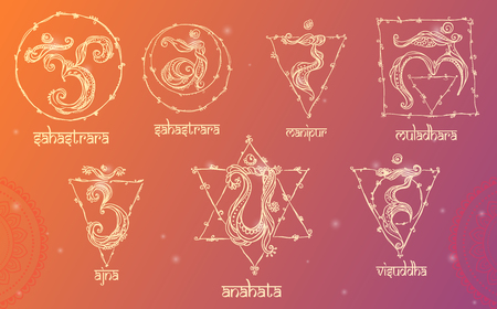 muladhara: 7 Chakras: muladhara, sahasrara, ajna, vishuddha, anahata, manipura, svadhishana. Set Chakra made in vector. The concept of chakras Hinduism, Buddhism, the occult variety of systems and Ayurveda
