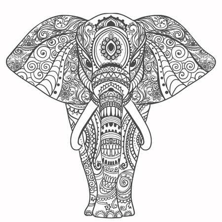 mandala flower: Greeting Beautiful card with Elephant. Frame of animal made in vector. Perfect cards, or for any other kind of design, birthday and other holiday.Seamless hand drawn map with Elephant. Illustration