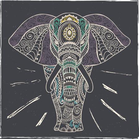 코끼리와 함께 아름 다운 인사말 카드입니다. 동물의 프레임 벡터에서했다. 완벽한 카드, 또는 코끼리와지도의 디자인을 그린, 생일 및 기타 holiday.Seamless 손의 다른 종류.