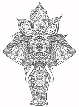 코끼리와 함께 아름 다운 인사말 카드입니다. 동물의 프레임 벡터에서했다. 완벽한 카드, 또는 코끼리와지도의 디자인을 그린, 생일 및 기타 holiday.Seaml