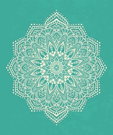 Ornement carte blanche noir avec mandala. Élément de cercle géométrique faite dans le vecteur. Cartes parfaites pour tout autre type de conception, anniversaire et d'autres vacances, kaléidoscope, médaillon, le yoga, l'inde, arabe