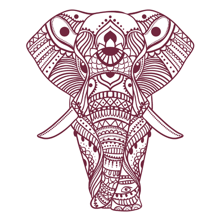 elephant: Greeting Beautiful card with Elephant. Frame of animal made in vector. Perfect cards, or for any other kind of design, birthday and other holiday.Seamless hand drawn map with Elephant. Illustration