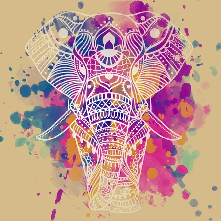 animal: 美麗的問候卡與大象。動物幀載體進行。完美的卡,或任何其他類型的設計,生日等holiday.Seamless手繪製的地圖與大象。 向量圖像