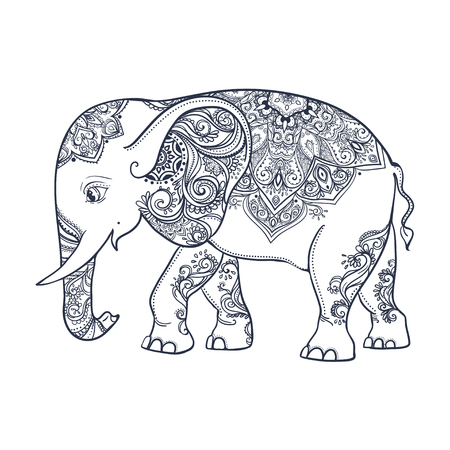 tantra: Greeting Beautiful card with Elephant. Frame of animal made in vector. Perfect cards, or for any other kind of design, birthday and other holiday.Seamless hand drawn map with Elephant. Illustration