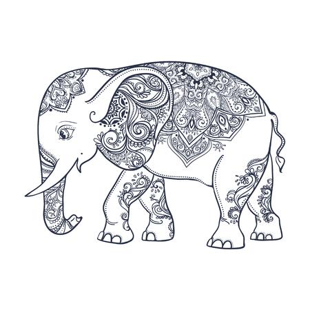 Saludo Tarjeta hermosa con el elefante. Marco de animales hizo en el vector. Tarjetas perfectas, o para cualquier otro tipo de diseño, cumpleaños y otro lado holiday.Seamless dibujado mapa con Elefante. Foto de archivo - 50314675