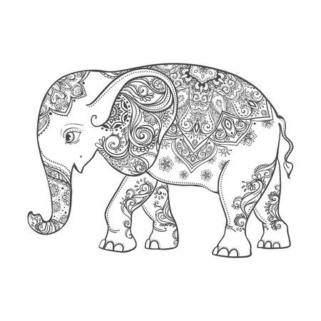 Saludo Tarjeta hermosa con el elefante. Marco de animales hizo en el vector. Tarjetas perfectas, o para cualquier otro tipo de diseño, cumpleaños y otro lado holiday.Seamless dibujado mapa con Elefante.