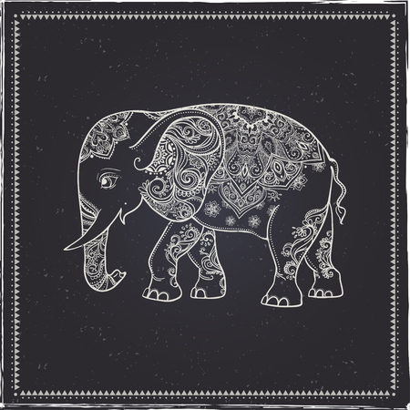 Greeting Beautiful card with Elephant. Frame of animal made in vector. Perfect cards, or for any other kind of design, birthday and other holiday.Seamless hand drawn map with Elephant. Vektorové ilustrace