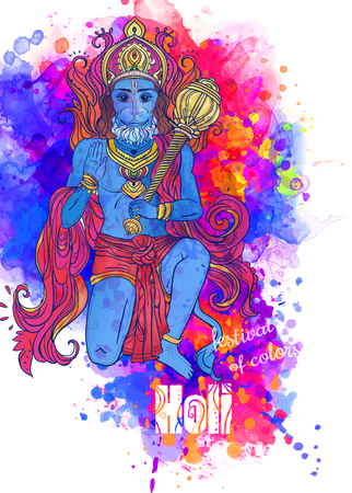 asian and indian ethnicities: Holi celebration with of Lord Hanuman. Illustration of Happy Dussehra. Perfect  cards for any other kind of design, birthday and other holiday, kaleidoscope,  medallion, yoga, india, arabic