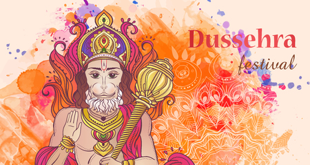 ramayan: Ornament card with of Lord Hanuman. Illustration of Happy Dussehra (Vijayadashami). Perfect cards for any other kind of design, birthday and holiday, kaleidoscope,  medallion, yoga, india, arabic Illustration