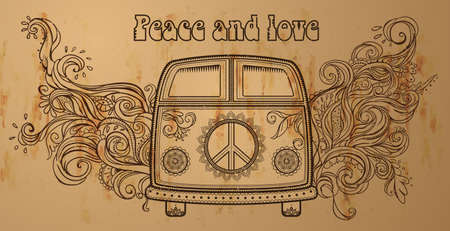 70s: Hippie vintage car a mini van. Ornamental background. Love and Music with hand-written fonts, hand-drawn doodle background and textures. Hippy color vector illustration. Retro 1960s, 60s, 70s