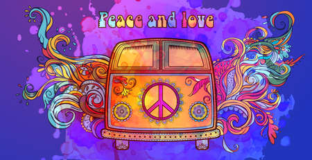 adventures: Hippie vintage car a mini van. Ornamental background. Love and Music with hand-written fonts, hand-drawn doodle background and textures. Hippy color vector illustration. Retro 1960s, 60s, 70s