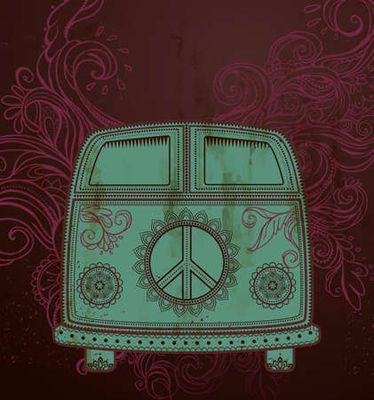 mini car: Hippie vintage car a mini van. Ornamental background. Love and Music with hand-written fonts, hand-drawn doodle background and textures. Hippy color vector illustration. Retro 1960s, 60s, 70s