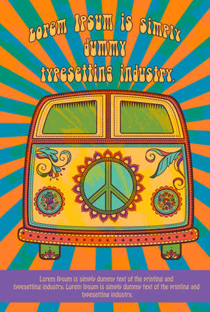 sixties: Hippie style. Ornamental watercolor background. Love and Music with hand-written fonts, hand-drawn doodle background and textures. Hippy color vector illustration. Retro 1960s, 60s, 70s