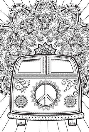 60's: Hippie vintage car a mini van. Ornamental background. Love and Music with hand-written fonts, hand-drawn doodle background and textures. Hippy color vector illustration. Retro 1960s, 60s, 70s