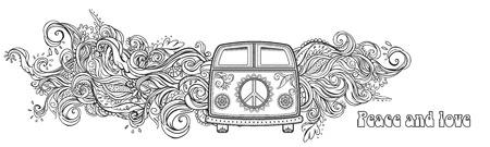 Hippie auto d'epoca un furgone. Sfondo ornamentale. Amore e musica con i caratteri scritti a mano, disegnati a mano doodle background e texture. Hippy colore illustrazione vettoriale. 1960 retrò, anni '60, '70