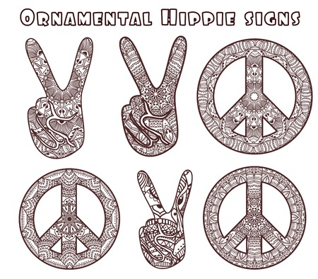 signo de paz: Estilo Hippie. Ornamentales de fondo de la acuarela. Amor y música con las fuentes escritas a mano, fondo y texturas bosquejo dibujado a mano. ilustración vectorial.