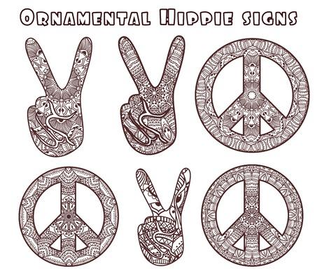 Estilo Hippie. Ornamentales de fondo de la acuarela. Amor y música con las fuentes escritas a mano, fondo y texturas bosquejo dibujado a mano. ilustración vectorial.
