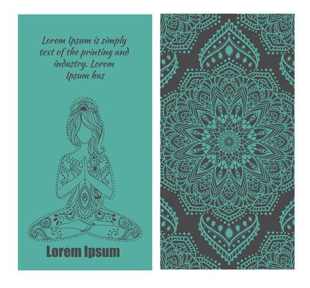 Hermosa tarjeta con vector de yoga para mujeres embarazadas. Vida saludable, elaborado elemento mano. Tarjetas perfectas para cualquier otro tipo de diseño, concepto centro de yoga, madre, medallón del bebé, el yoga, la india