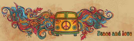 paz: Hippie carro do vintage uma mini van. Fundo decorativo. Amor e Música com fontes escritas à mão, fundo e texturas Doodle tirado mão. Ilustração do vetor da cor Hippy. 1960 retro, 60s, 70s Ilustração