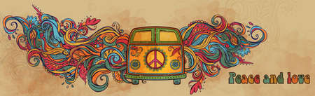 hippie: Hippie vintage car a mini van. Ornamental background. Love and Music with hand-written fonts, hand-drawn doodle background and textures. Hippy color vector illustration. Retro 1960s, 60s, 70s
