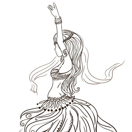 Ornament beautiful card with girl belly dance. Geometric element hand drawn. Perfect  cards for any other kind of design, birthday and other holiday, kaleidoscope,  medallion, yoga, india, arabic
