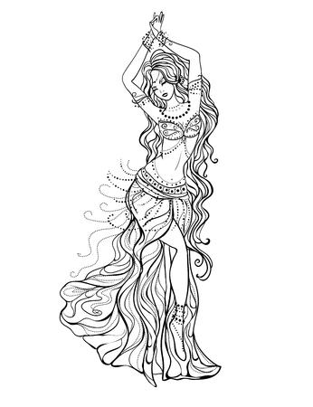 Ornamento tarjeta hermosa con la danza del vientre niña. Dibujado elemento Mehenidi mano. Tarjetas perfectas para cualquier otro tipo de diseño, danza oriental, caleidoscopio, medallón, el yoga, la india, árabe Ilustración de vector