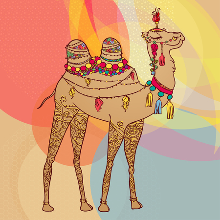 nomad: Greeting Beautiful card with camel. Frame of animal made in vector. Perfect cards, or for any other kind of design, birthday and other holiday. Seamless hand drawn map with camel desert.