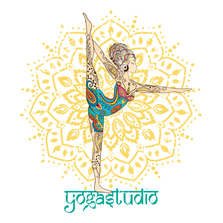 zen aum: Ornament beautiful card with Vector yoga. Geometric element hand drawn. Perfect  cards for any other kind of design, birthday and other holiday, kaleidoscope,  medallion, yoga, india, arabic