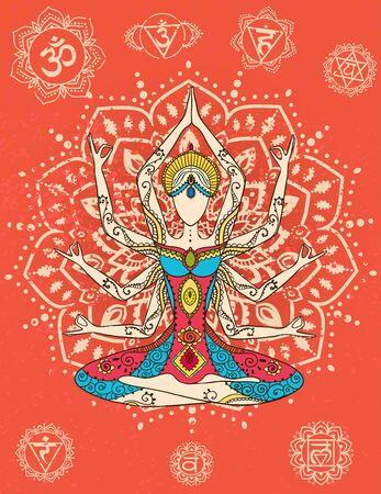 벡터 요가로 아름 다운 카드 장식. 형상 요소 손으로 그려입니다. 다른 종류의 디자인, 생일 및 기타 공휴일, 만화경, 메달, 요가, 인도, 아랍어를위한 완벽한 카드