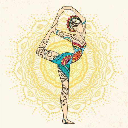 Ornamento Tarjeta Hermosa Con Vector De Yoga Dibujado Elemento