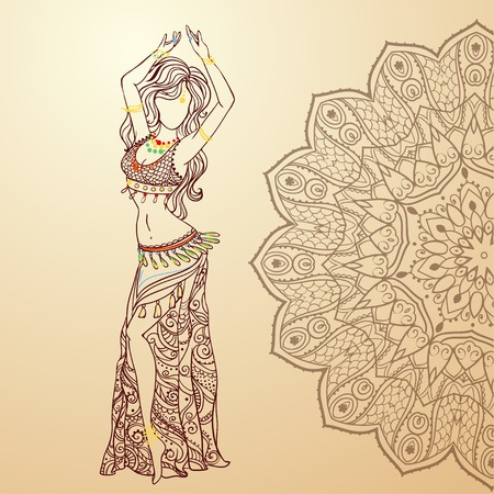 belly dancer: Ornament beautiful card with girl belly dance. Geometric element hand drawn. Perfect  cards for any other kind of design, birthday and other holiday, kaleidoscope,  medallion, yoga, india, arabic