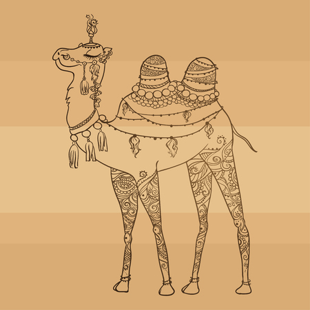 dromedary: Greeting Beautiful card with camel. Frame of animal made in vector. Perfect cards, or for any other kind of design, birthday and other holiday. Seamless hand drawn map with camel desert.