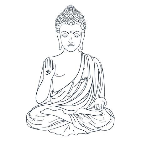Ornement belle carte avec Bouddha. Géométrique élément tiré par la main. cartes parfaites pour tout autre type de conception, anniversaire et d'autres vacances, kaléidoscope, médaillon, le yoga, l'inde, arabe