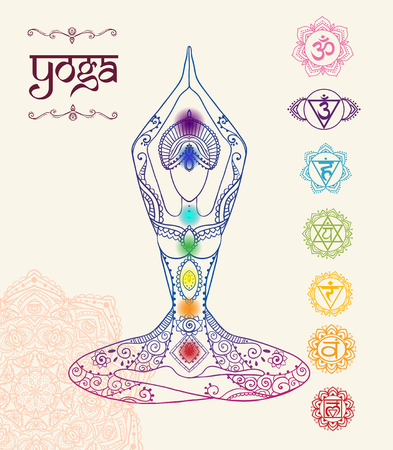 tantra: Ornament beautiful card with Vector yoga. Geometric element hand drawn. Perfect  cards for any other kind of design, birthday and other holiday, kaleidoscope,  medallion, yoga, india, arabic