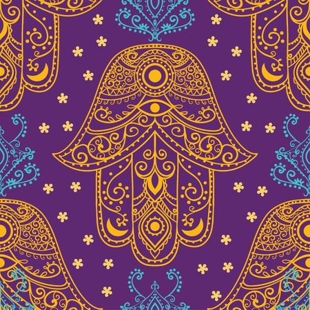 kabbalah: Ornament pattern with hamsa. Geometric circle element made in vector. Perfect cards for any other kind of design, birthday and other holiday, kaleidoscope,  medallion, yoga, india, arabic