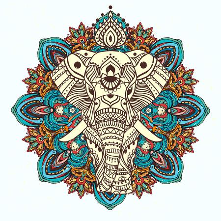 Belle carte de voeux avec Elephant. Cadre de l'animal fait en vecteur. Cartes parfaites, ou pour tout autre type de conception, anniversaire et d'autre part holiday.Seamless dessiné la carte avec Elephant.
