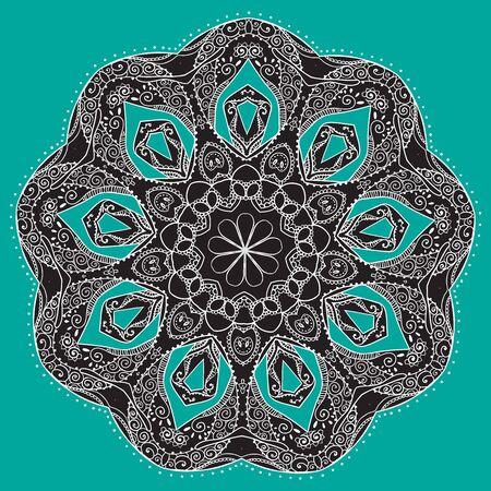 만다라와 장식 검은 색 흰색 카드. 벡터의 기하학적 인 원형 요소입니다. 아랍어 디자인, 생일 및 기타 휴일, 만화경, 메달, 요가, 인도, 다른 종류의 완벽 카드