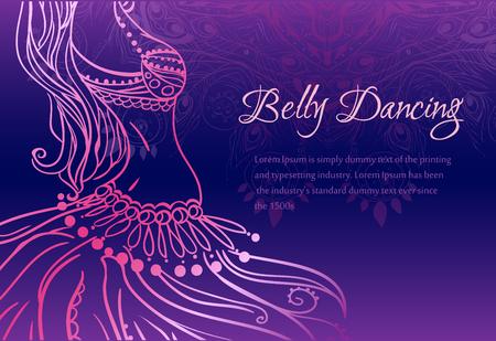 Ornamento tarjeta hermosa con la danza del vientre niña. Dibujado elemento geométrico mano. Tarjetas perfectas para cualquier otro tipo de diseño, cumpleaños y otro día de fiesta, caleidoscopio, medallón, el yoga, la india, árabe