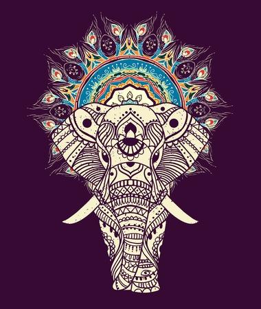 Groet Mooie kaart met Elephant. Frame van dierlijke gemaakt in vector. Perfecte kaarten, of voor enige andere vorm van design, verjaardag en andere holiday.Seamless hand getekende kaart met Elephant.