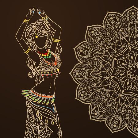 Ornamento tarjeta hermosa con la danza del vientre niña. Dibujado elemento geométrico mano. Tarjetas perfectas para cualquier otro tipo de diseño, cumpleaños y otro día de fiesta, caleidoscopio, medallón, el yoga, la india, árabe Foto de archivo - 51166443