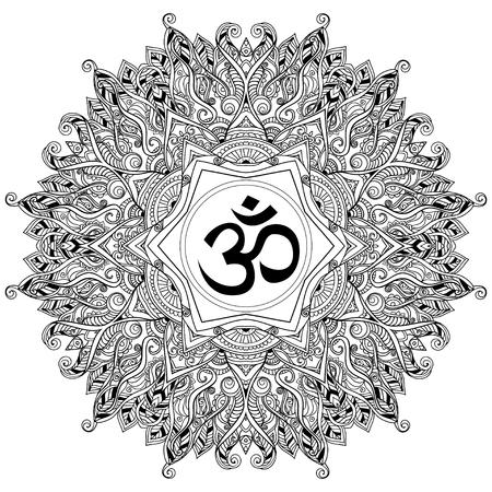 만다라와 장식 검은 색 흰색 카드. 벡터의 기하학적 인 원형 요소입니다. 아랍어 디자인, 생일 및 기타 휴일, 만화경, 메달, 요가, 인도, 다른 종류의를위한 완벽한 카드