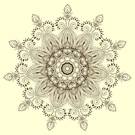 Ornamento de la tarjeta en blanco y negro con la mandala. Elemento círculo geométrico hecho en vector. Tarjetas perfectas para cualquier otro tipo de diseño, cumpleaños y otras fiestas, caleidoscopio, medallón, el yoga, la india, árabe Ilustración de vector