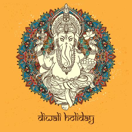 ganesh: Ornamentar dios Ganesha. tarjetas de invitación Dawali vacaciones. conjunto perfecto para cualquier otro tipo de diseño, cumpleaños y otro día de fiesta, caleidoscopio, medallón, el yoga, la india, árabe Vectores