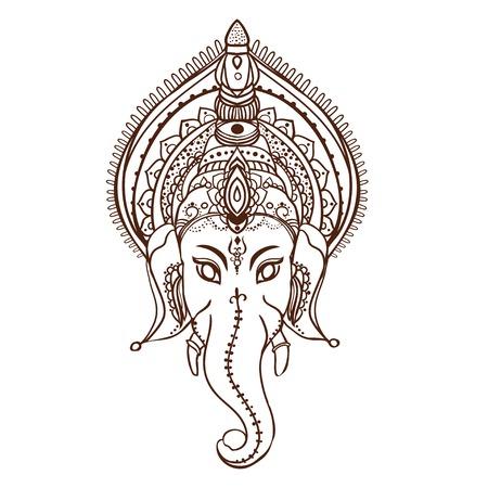 하나님 코끼리와 장식 아름다운 카드. 기하학적 요소 손으로 그린. 아랍어 디자인, 생일 및 기타 휴일, 만화경, 메달, 요가, 인도, 다른 종류의를위