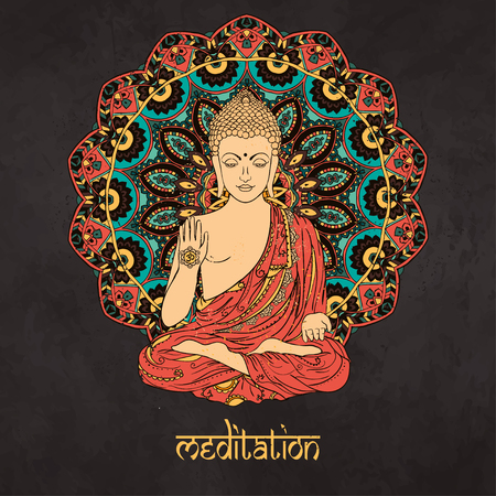 부처님 장식 아름다운 카드. 기하학적 요소 손으로 그린. 아랍어 디자인, 생일 및 기타 휴일, 만화경, 메달, 요가, 인도, 다른 종류의를위한 완벽한 카드