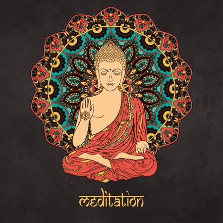 mano de dios: Ornamento tarjeta hermosa con Buda. dibujado a mano geom�trica elemento. Tarjetas perfectas para cualquier otro tipo de dise�o, cumplea�os y otro d�a de fiesta, caleidoscopio, medall�n, el yoga, la india, �rabe