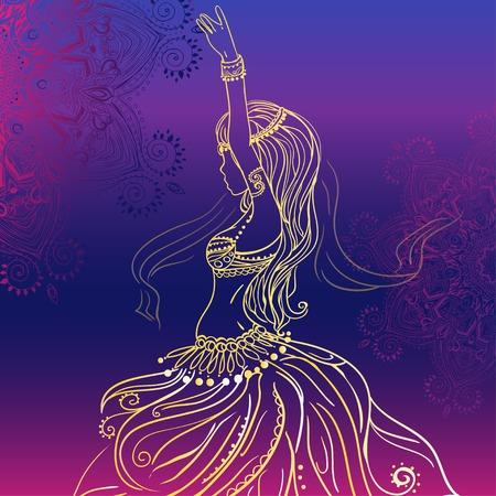 Ornament mooie kaart met meisje buikdans. Geometrische element hand getekend. Perfecte kaarten voor elke andere vorm van design, verjaardag en andere vakantie, caleidoscoop, medaillon, yoga, india, Arabisch