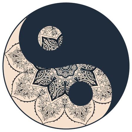 Carta Ornamento con mandala Yin Yang. Elemento cerchio geometrico fatto nel vettore. Carte perfette per qualsiasi altro tipo di design, compleanno e altre vacanze, caleidoscopio, medaglione, yoga, india, arabo