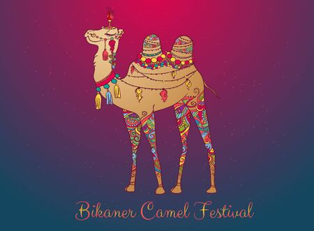 bikaner: Greeting Beautiful card with camel. Frame of animal made in vector. Perfect cards, or for any other kind of design, birthday and other holiday. Seamless hand drawn map with camel desert.